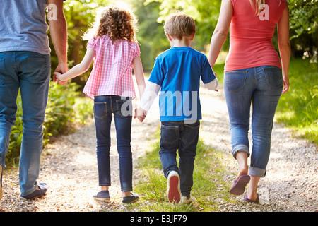 Vista trasera de la familia caminando en campo
