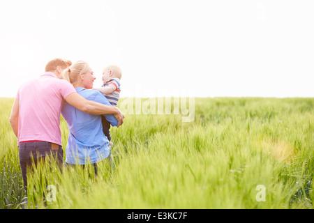 Caminar en el campo de la familia llevar joven hijo