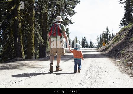 Vista trasera de padre e hija, tomados de la mano caminando a través del bosque de Oregón, EE.UU.