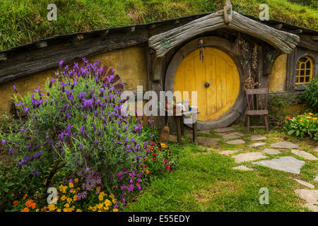 Hobbit-agujero en Hobbiton, ubicación de El Señor de los anillos y el Hobbit, la trilogía cinematográfica Hinuera, Matamata, Nueva Zelanda