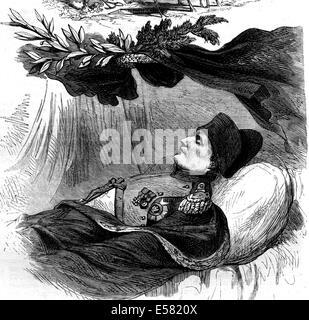 Napoleón 1º en el lecho de muerte, el 5 de mayo de 1821, en Longwood, la isla Santa Helena, 1858