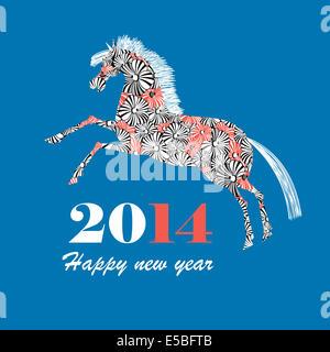 Tarjeta de felicitación de navidad con caballo ornamental sobre un fondo azul.