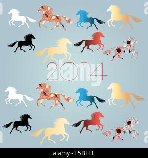 Brillante fiesta de Año Nuevo con los caballos de fondo sobre un fondo azul claro
