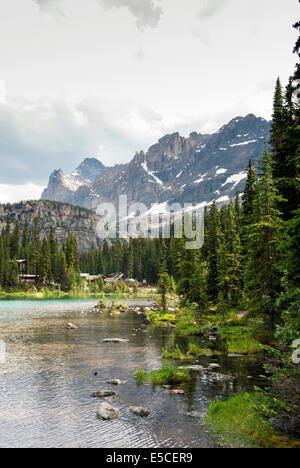 Elk203-2315v, Columbia Británica, Canadá El Parque Nacional Yoho, Lago O'Hara, cabañas