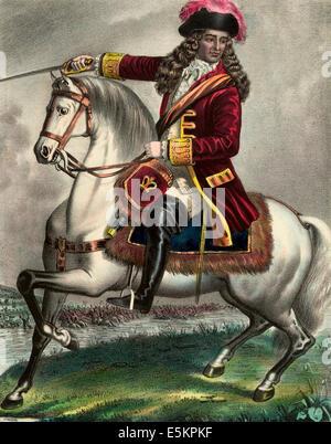 Guillermo III, Príncipe de Orange, en la batalla del Boyne. 1690 Foto de stock