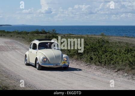 Volkswagen (1958) oldtimer coche en una reunión en la isla sueca de Öland