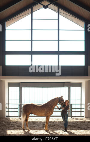 Las hembras jóvenes stablehand pie con caballo palomino Foto de stock
