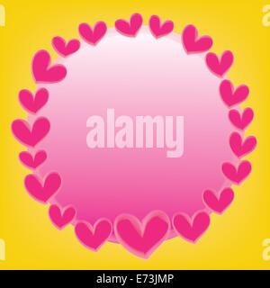 Resumen pink heart con espacio para el texto sobre un fondo amarillo