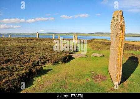 Anillo de Brodgar, neolítico y Stone Henge círculo, Continental, las Islas Orcadas, Escocia, Reino Unido