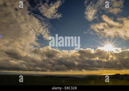 Este Decano, East Sussex, Reino Unido. El 4 de octubre de 2014. Cambio de clima en la costa sur a fines del verano Foto de stock