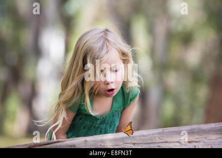 Chica mirando la mariposa en el bosque, California, EE.UU