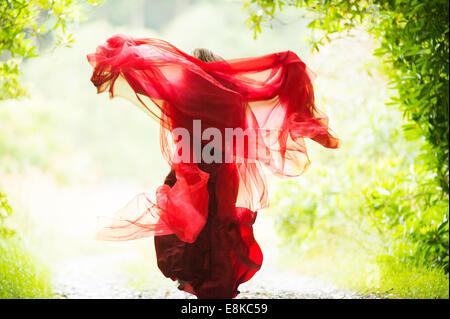 Mujer escarlata: vista trasera de una chica que llevaba un vestido rojo sangre levita huir woodland campo Foto de stock