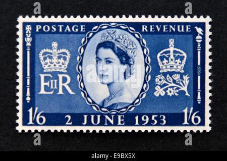 Sello de correos. Gran Bretaña la reina Isabel II. Coronación. 1953.