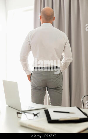 Vista trasera del empresario de pie en la oficina en casa