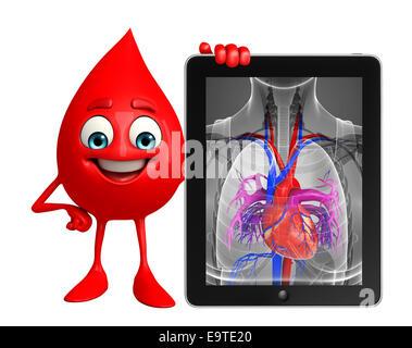 Personaje de dibujos animados de la gota de sangre con el corazón ...