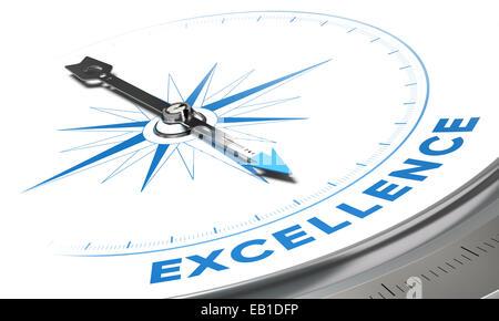 Excelencia en concepto de fondo. La aguja de la brújula apuntando una palabra azul imagen decorativa, adecuado para el ángulo inferior izquierdo de la página.