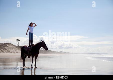 Jinete de pie sobre el caballo, Pakiri Beach, Auckland, Nueva Zelanda Foto de stock