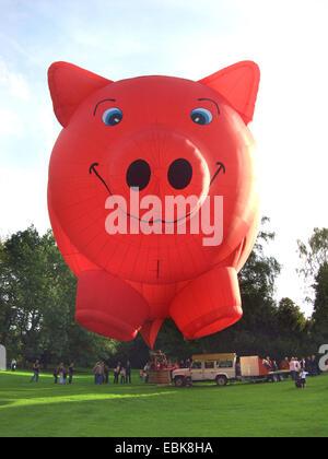 Aire caliente en forma de cerdo ballon despegando, Alemania