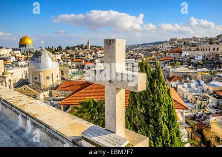 Jerusalén, Israel antiguo paisaje urbano de la ciudad.