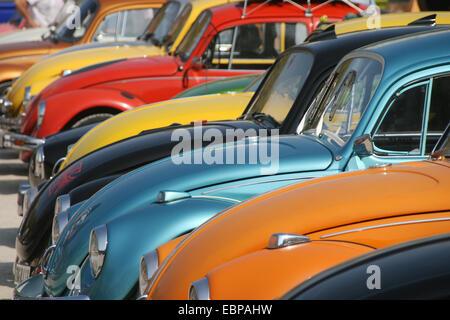 Varios Volkswagen Beetle en la 16ª Reunión de Volkswagen en Agde, Francia.