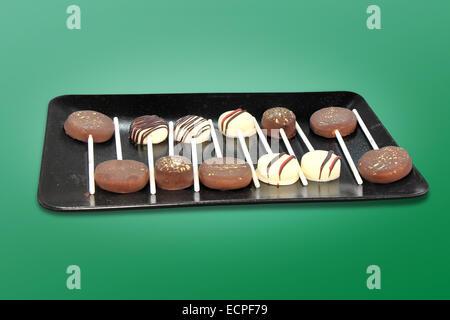 Dulces de Chocolate en un palo sabroso y dulce postre