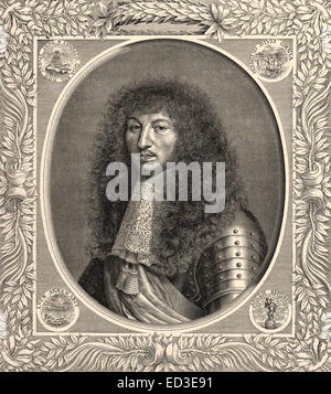 Retrato de Louis XIV, Louis le Grand, 1638 - 1715, el rey de Francia y Navarra, llamado el Rey Sol o le Roi-Soleil, Retrato v