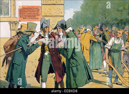 Contemplando la derrota en Jena y Auerstaedt en Berlín, Guerras Napoleónicas, 1806, pintura histórica por C. Röchling, publicación