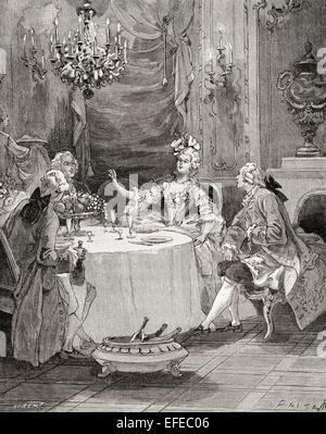 Madame Pompadour entretienen a los huéspedes en el siglo XVIII. Jeanne Antoinette Poisson, Marquesa de Pompadour, aka Madame de Pompadour, 1721 -1764. Miembro de la corte francesa y el oficial jefe amante de Luis XV.