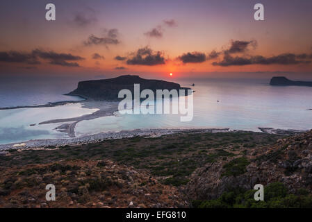 Laguna de balos en Sunset Creta Grecia