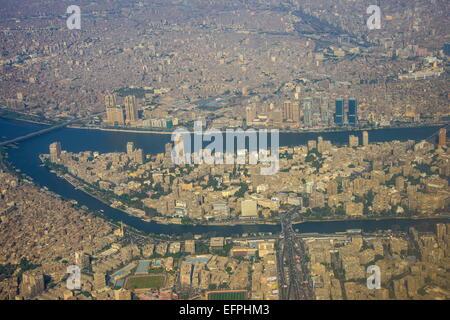 Antena del centro de El Cairo y el Nilo, Egipto, el Norte de África, África