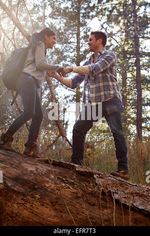 Novia joven dando una mano sobre el árbol caído en el bosque, Los Ángeles, California, Estados Unidos.