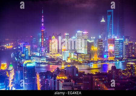 Shanghai, China vista aérea del paisaje urbano.