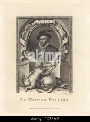 Retrato de Sir Walter Raleigh, 1554-1618, aristócrata inglés, escritor, poeta, soldado, político, cortesano, Spy, Foto de stock
