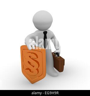 Hombre de negocios en 3D con un escudo protector de oro con un icono de párrafo