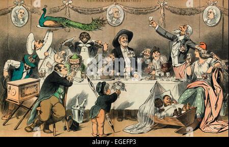 Una fiesta familiar - el cumpleaños 200 del Tío Sam más saludable de los niños adoptados. Caricatura Política 1883