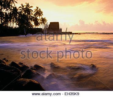 Pu'uhonua o Honaunau National Historic Site. Heiau, La Isla Grande de Hawai.