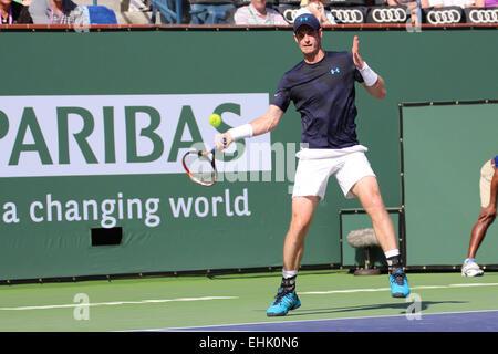 Indian Wells, California, 14 de marzo de 2015, el tenista británico Andy Murray derrotas Vasek Pospisil de Canadá en la segunda ronda de hombres solteros (puntuación 6-1 6-3). Crédito: Werner Fotos/Alamy Live News