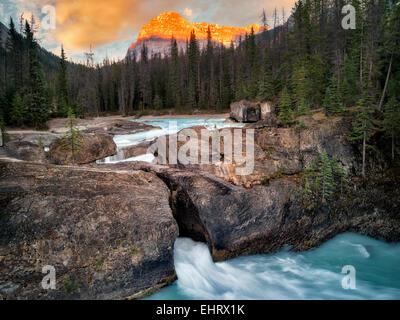 Río Kicking Horse y puente natural disminuye con la puesta de sol en British Columbia's Canadian Rockies y el Parque Nacional Yoho.