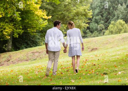 Vista trasera de la joven pareja caminando de la mano en el parque