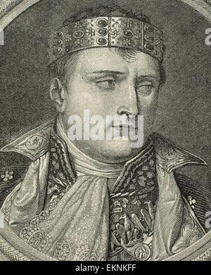 Napoleón Bonaparte (1769-1821). El emperador de los franceses a partir de 1804-1814. Grabado por Longhi, 1812. Foto de stock
