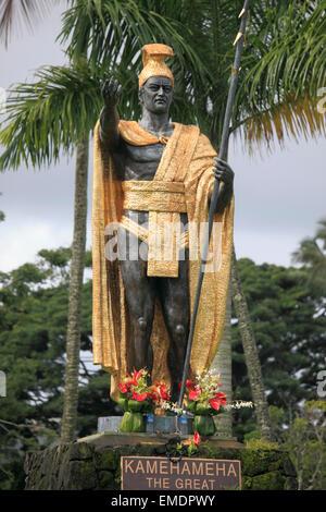 Hawaii, Isla Grande, Hilo, Wailoa River State Park, la gran estatua del rey Kamehameha,