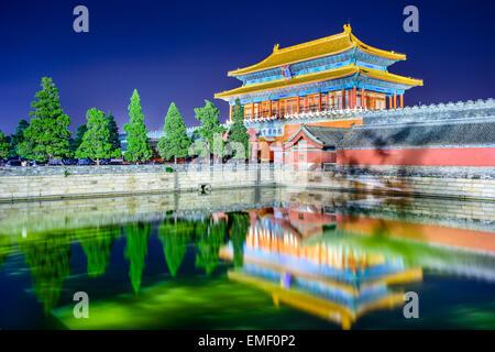 """Beijing, China, en la puerta del poder divino, la puerta norte de la Ciudad Prohibida. (Tablet superior se lee """"La Puerta del poder divino,'"""