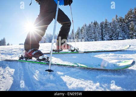 Cierre de ángulo bajo de esquí