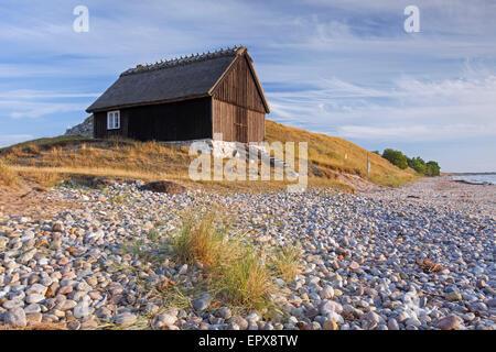 Pesca de madera solitaria cabaña en las dunas a lo largo del Mar Báltico en Skåne, Haväng / Scania, Suecia Foto de stock
