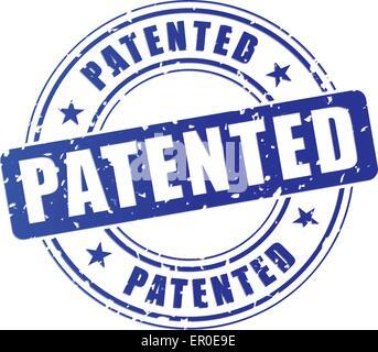 Ilustración del sello patentado azul sobre fondo blanco.