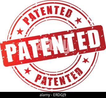 Ilustración vectorial de sello patentado rojo sobre fondo blanco.