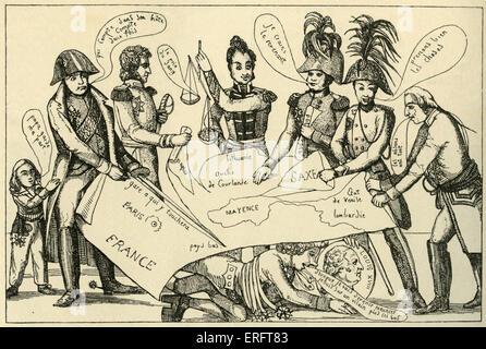 Congreso de Viena - Francés caricatura de un viajero de principios del siglo 19. Artista desconocido. El Congreso de Viena (1814 - 1815) destinadas a redibujar el mapa político de Europa 's después de la derrota de Francia Napoleonica.