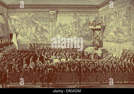 Luis XV, rey de Francia: la cama de justicia celebrada en Versalles, en 1776. Símbolo del poder político sobre el sistema judicial.