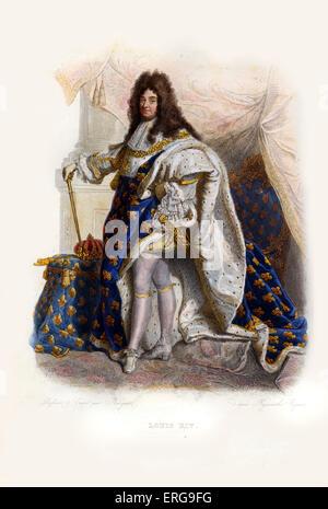 Luis XIV, conocido como el Rey Sol (en francés: le Roi Soleil). El rey de Francia y de Navarra (1643-1715). 1638-1715. Grabado por