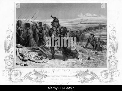 Retirada de Moscú durante la Guerra de Crimea - Pasaje del Berezyna. Retiro de las tropas de Napoleón de Moscú en el invierno de 1825.